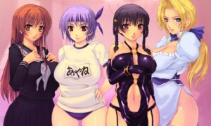 Rating: Safe Score: 48 Tags: ayane_(doa) buruma cleavage dead_or_alive dress garter_belt gym_uniform helena_douglas kasumi lei_fang seifuku thighhighs yoko_juusuke User: Yuffie