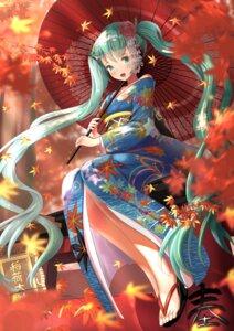 Rating: Safe Score: 15 Tags: hatsune_miku open_shirt umbrella vocaloid wander00317 yukata User: Dreista