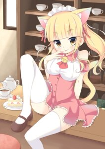Rating: Safe Score: 47 Tags: animal_ears nekomimi noito pantsu tail thighhighs waitress User: Mr_GT