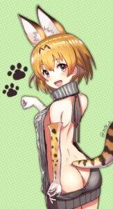 Rating: Questionable Score: 36 Tags: animal_ears ass kemono_friends no_bra nopan serval sweater tail yasuda_takashi User: Mr_GT