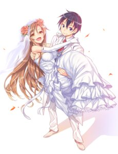 Rating: Safe Score: 29 Tags: akihazama asuna_(sword_art_online) dress kirito sword_art_online wedding_dress User: fairyren