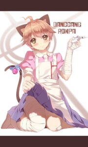 Rating: Safe Score: 14 Tags: animal_ears bandages cosplay crossdress dangan-ronpa dangan-ronpa_2 hmniao naegi_makoto nekomimi skirt_lift tail tsumiki_mikan User: Mr_GT