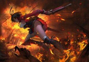 Rating: Safe Score: 69 Tags: armor ass bandages gun koutetsujou_no_kabaneri mumei pantsu yuwei_li User: Mr_GT