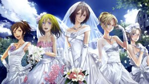 Rating: Safe Score: 76 Tags: annie_leonhardt cap christa_lenz dress endcard megane mikasa_ackerman redjuice rico_brzenska sasha_browse shingeki_no_kyojin wedding_dress User: Radioactive