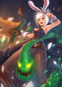 Rating: Questionable Score: 60 Tags: animal_ears bunny_ears bunny_girl kerasu league_of_legends pantyhose riven_(league_of_legends) zac_(league_of_legends) User: fairyren