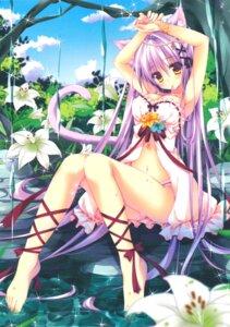 Rating: Questionable Score: 166 Tags: animal_ears cleavage dress nanaroba_hana nekomimi pantsu summer_dress tail User: mash