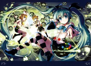 Rating: Safe Score: 49 Tags: fujima_takuya hatsune_miku headphones thighhighs vocaloid User: drop