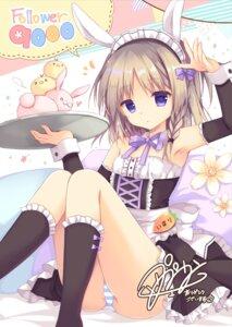 Rating: Questionable Score: 94 Tags: animal_ears autographed bunny_ears loli maid pantsu purin_purin shimapan waitress User: Mr_GT