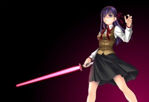 Rating: Safe Score: 8 Tags: fate/stay_night matou_sakura norizou_type-r seifuku sword User: cheese