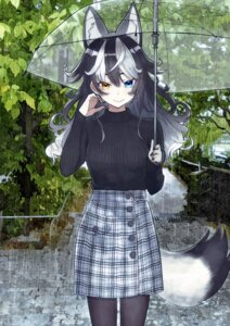 Rating: Safe Score: 31 Tags: animal_ears grey_wolf heterochromia kemono_friends pantyhose sweater tagme tail umbrella User: BattlequeenYume