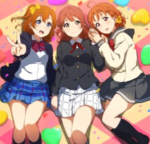 Rating: Safe Score: 23 Tags: crossover icehotmilktea kousaka_honoka love_live! love_live!_school_idol_festival_all_stars love_live!_sunshine!! seifuku takami_chika uehara_ayumu User: saemonnokami