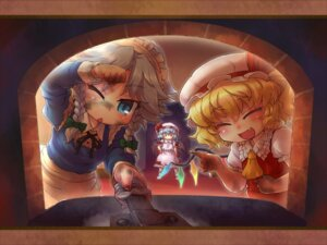 Rating: Safe Score: 10 Tags: flandre_scarlet izayoi_sakuya remilia_scarlet sankuma touhou wallpaper User: Mr_GT