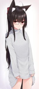 Rating: Safe Score: 36 Tags: animal_ears dress megane skirt_lift sweater yukichi_(sukiyaki39) User: BattlequeenYume