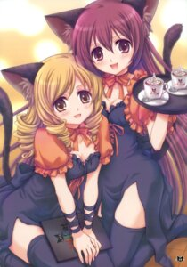 Rating: Safe Score: 31 Tags: animal_ears cleavage nekomimi tail takumi_namuchi thighhighs waitress User: blooregardo