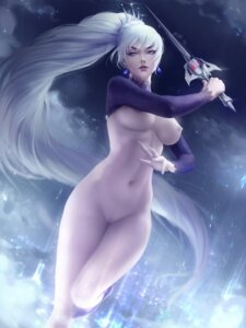 Rating: Explicit Score: 24 Tags: bottomless breasts nipples no_bra pussy rwby sword weiss_schnee zarory User: Darkthought75