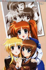 Rating: Safe Score: 7 Tags: fate_testarossa fixed mahou_shoujo_lyrical_nanoha mahou_shoujo_lyrical_nanoha_strikers okuda_yasuhiro takamachi_nanoha uniform yagami_hayate User: boon