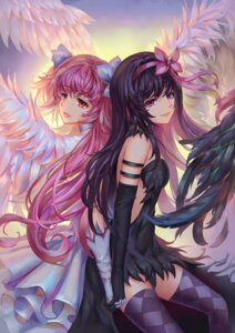 Rating: Safe Score: 33 Tags: aaeru akemi_homura dress no_bra puella_magi_madoka_magica thighhighs ultimate_madoka wings User: Mr_GT