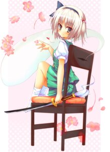 Rating: Safe Score: 14 Tags: huei_naduki konpaku_youmu myon sword touhou User: Radioactive