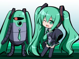 Rating: Safe Score: 5 Tags: chibi hatsune_miku kakeru thighhighs vocaloid wallpaper User: Radioactive