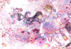 Rating: Safe Score: 33 Tags: card_captor_sakura daidouji_tomoyo dress ekita_gen kinomoto_sakura li_meiling li_syaoran thighhighs weapon wings User: Mr_GT