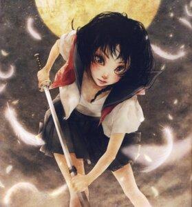 Rating: Safe Score: 4 Tags: enta_shiho open_shirt sarashi seifuku sword tagme User: Radioactive