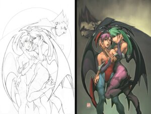 Rating: Safe Score: 28 Tags: arnold_tsang capcom cleavage dark_stalkers demitri_maximoff leotard lilith_aensland line_art monochrome morrigan_aensland pantyhose udon_entertainment wings yuri User: Radioactive
