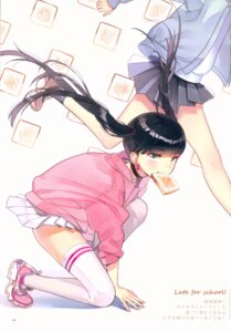Rating: Questionable Score: 34 Tags: ancotaku seifuku sentiment_color skirt_lift thighhighs User: Radioactive