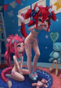 Rating: Questionable Score: 20 Tags: animal_ears bikini fiz-rot loli panty_pull swimsuits tail undressing yuri User: petopeto