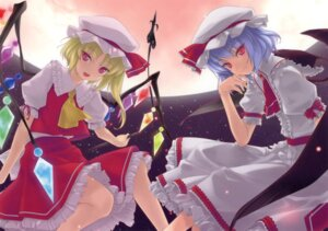 Rating: Safe Score: 27 Tags: enhance_heart flandre_scarlet paper_texture remilia_scarlet rokuwata_tomoe touhou User: midzki