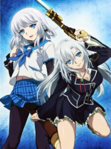 Rating: Questionable Score: 52 Tags: cleavage gun kanase_kanon la_folia_rihavein pantyhose seifuku strike_the_blood User: ikkk5000