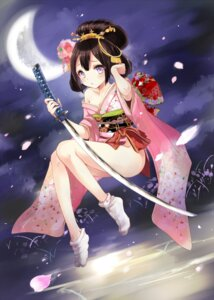 Rating: Questionable Score: 45 Tags: batgo cleavage kimono no_bra nopan open_shirt sword User: KazukiNanako
