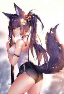 Rating: Questionable Score: 59 Tags: animal_ears ass breast_hold duji_amo heterochromia sword tail User: yanis