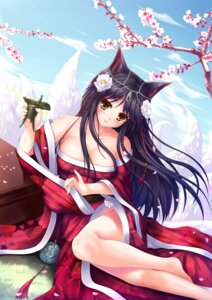 Rating: Safe Score: 62 Tags: ahri animal_ears cleavage japanese_clothes league_of_legends no_bra nopan sui_sui_baihu_jiu_wei_pang_pang tail User: Mr_GT