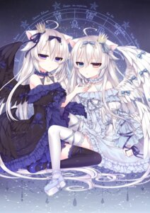 Rating: Safe Score: 52 Tags: animal_ears dress gothic_lolita heterochromia lolita_fashion lolo_noel nekomimi thighhighs tsukikage_nemu wings yves_astroel User: charunetra