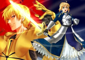 Rating: Safe Score: 9 Tags: armor fate/stay_night gilgamesh_(fsn) rmssre saber sword User: charunetra
