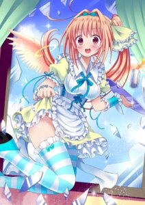 Rating: Questionable Score: 33 Tags: dress gibuchoko heels maid moe2015 nopan skirt_lift thighhighs wings User: KazukiNanako