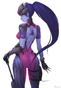 Rating: Questionable Score: 39 Tags: ass bodysuit garter gun no_bra overwatch tattoo unsomnus weapon widowmaker User: mash