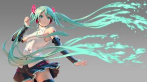 Rating: Safe Score: 65 Tags: hatsune_miku headphones pinakes tattoo thighhighs vocaloid wallpaper User: Mr_GT