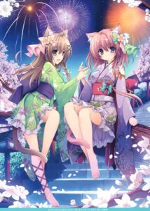 Rating: Safe Score: 33 Tags: animal_ears nanaroba_hana nekomimi tail yukata User: kiyoe
