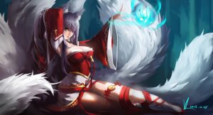 Rating: Questionable Score: 57 Tags: ahri animal_ears cleavage kitsune league_of_legends tail vafar7 User: sofronis