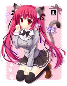 Rating: Safe Score: 59 Tags: animal_ears mitha nekomimi seifuku tail thighhighs User: 椎名深夏