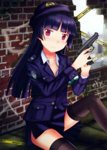 Rating: Questionable Score: 37 Tags: edogawakid gokou_ruri gun ore_no_imouto_ga_konnani_kawaii_wake_ga_nai police_uniform thighhighs User: Twinsenzw