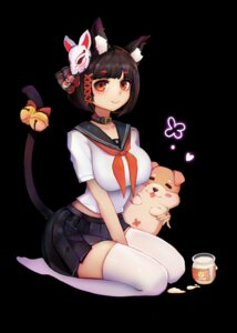 Rating: Safe Score: 16 Tags: animal_ears azur_lane jianshu seifuku tail thighhighs yamashiro_(azur_lane) User: charunetra