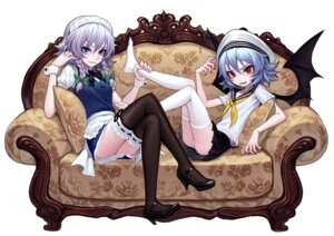 Rating: Safe Score: 35 Tags: heels izayoi_sakuya maid pantsu remilia_scarlet seifuku thighhighs touhou wings zengxianxin User: Mr_GT