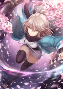 Rating: Safe Score: 45 Tags: fate/grand_order japanese_clothes mashu_(003) sakura_saber sword thighhighs User: Mr_GT