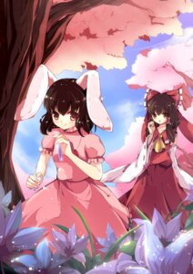 Rating: Safe Score: 19 Tags: animal_ears bunny_ears dress hakurei_reimu inaba_tewi pandako touhou User: Mr_GT