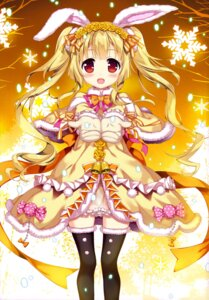 Rating: Questionable Score: 45 Tags: animal_ears bunny_ears dress fujima_takuya pantsu see_through thighhighs User: drop