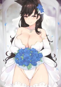Rating: Questionable Score: 37 Tags: animal_ears atago_(azur_lane) azur_lane cleavage dress kuavera pantsu thighhighs wedding_dress User: Mr_GT