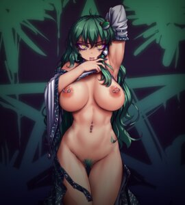 Rating: Questionable Score: 26 Tags: breasts kochiya_sanae nipples no_bra nopan pubic_hair shirt_lift tagme touhou User: BattlequeenYume