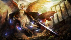 Rating: Questionable Score: 31 Tags: dragon's_crown dress feet hirai_yukiko see_through sword wings User: Radioactive